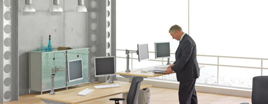 Adjustable height desks break the monotony at the Office