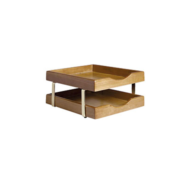 executive wooden 2 tier letter tray cherry