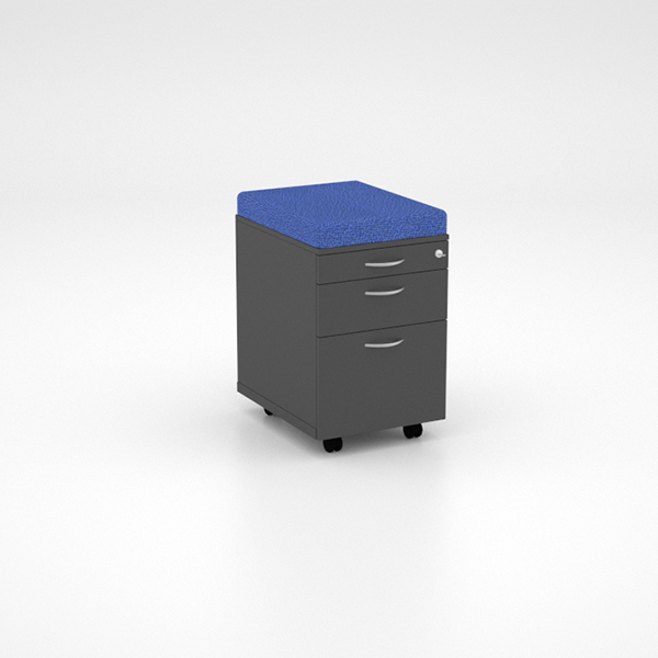 Storage - Mobile Pedestal with Cushion, PP, Single Drawer and Deep Filer