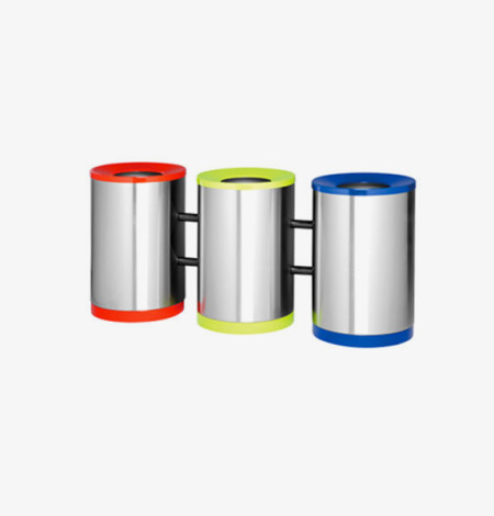 Three Division Round Recycle Bin