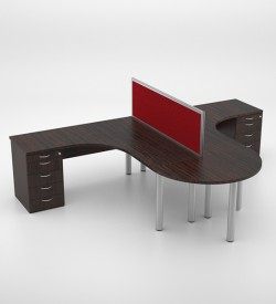Jigsaw 2-way Cluster with D-end and desk height pedestal