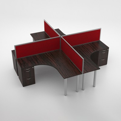 Jigsaw 4-way Cluster with Desk Height Pedestal