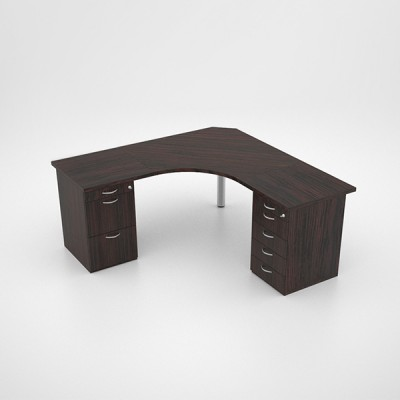 Jigsaw Curved Top Desk with Two Desk Height Pedestals