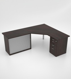 Jigsaw splayed top with Desk Height Pedestal and RD Credenza