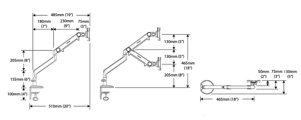 Humanscale M2 monitor arm dimensions