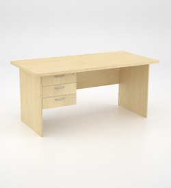 EcoScene Desk 32top with 3 draw Pedestal - Maple