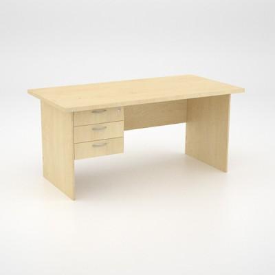 EcoScene Desk 32top with 3 draw Pedestal – Maple