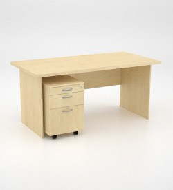 EcoScene Desk 32top with Mobile Pedestal - Maple