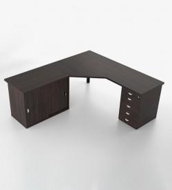 Jigsaw 45deg Top with Credenza & Pedestal