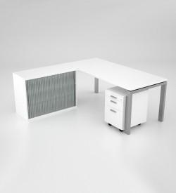 Margin-Desk-with-credenza-and-mobile-pedestal