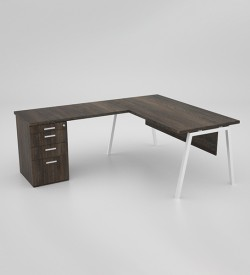 Image Desk with extension and desk height pedestal