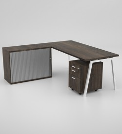 Image Desk with mobile pedestal and rd credenza