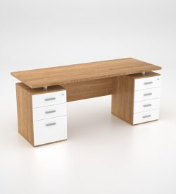 Lola Desk w Double Pedestal - Harvard Cherry