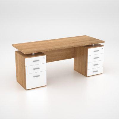 Lola Desk w Double Pedestal – Harvard Cherry – back