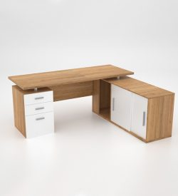 Lola Desk w Roller Door Credenza extension - Harvard Cherry - back