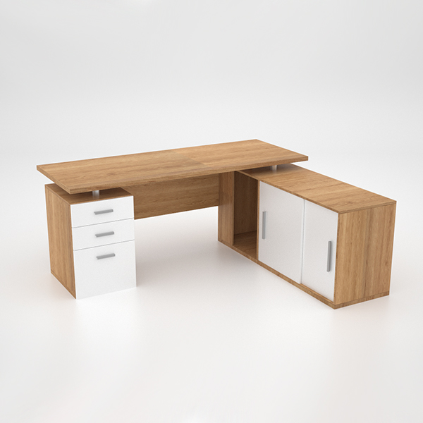 Lola Desk w Roller Door Credenza extension - Harvard Cherry
