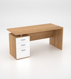 Lola Desk w Single Pedestal - Harvard Cherry - back