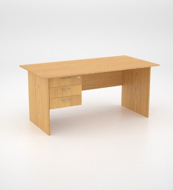 Value Desk 16top with 3 draw Pedestal - Oak