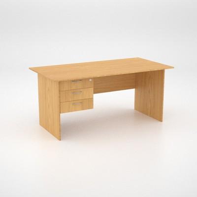 Value Desk 16top with 3 draw Pedestal – Oak