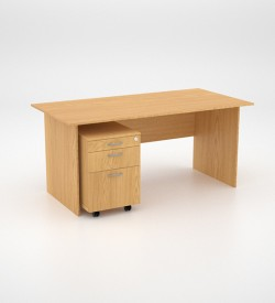 Value Desk 16top with Mobile Pedestal - Oak