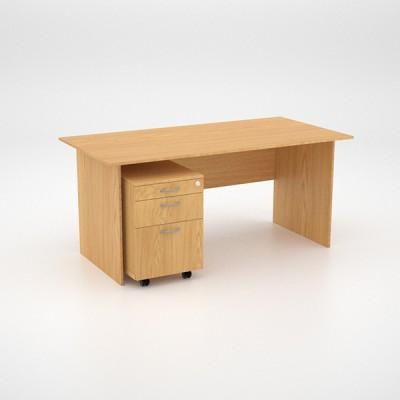 Value Desk 16top with Mobile Pedestal – Oak