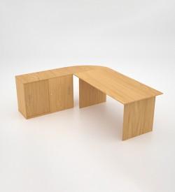 Value Desk with sliding door credenza - Oak