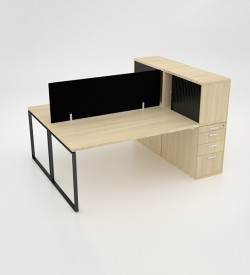 Ava 2 Way Cluster Desk with roller door combo unit