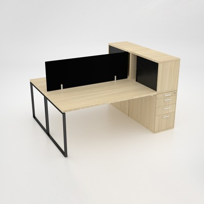 Ava 2 Way Cluster Desk with roller door combo unit