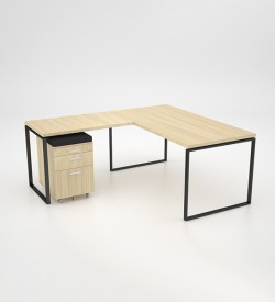 Ava Desk with extension top and mobile pedestal