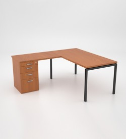 Margin 38 - Desk with Extension Top and Desk Height Pedestal