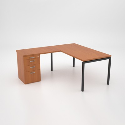 Margin 38 – Desk with Extension Top and Desk Height Pedestal