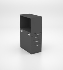Open Combo Unit - PP, 2 Single Drawers and Deep Filer