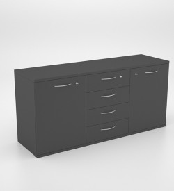 Storage - Server Unit with 2 SD Cupboards and 4 Drawers 2000 x 450 x 950h