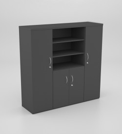 Wall Unit with 2 Full Cupboards, Half Cupboard and Shelves
