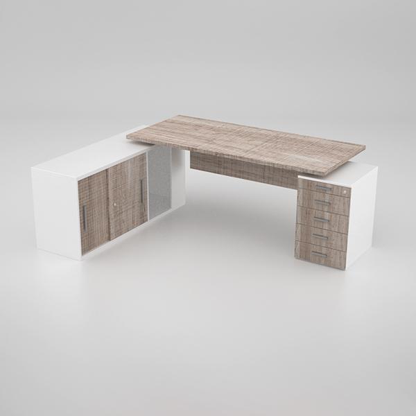 Status Desk w/ Pedestal & Credenza