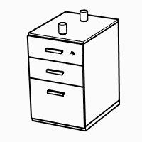 2 x Standard Drawers, 1 x Deep Filer